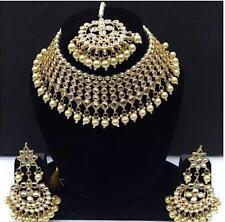 Kundan Choker Necklace Earrings Tikka Indian Fashion Jewelry Pearls Bridal Set