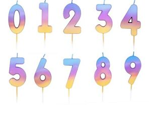 NUMBER AGE CANDLE Birthday Cake All Ages RAINBOW OMBRE Party Decoration