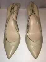 Merona Leather Womans Shoes Size 11 Beige Sling Backs Heels  Pre Owned Condition