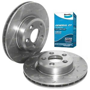 2 Front Drilled Slotted Disc Rotors + Bendix Brake Pads Territory SX SY SZ 04on