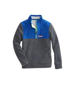 Vineyard Vines Perf. Mesh Shep Shirt, NWT - Boys L (16) + XL (18) -Blue Charcoal