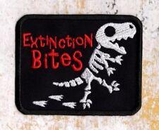 T-Rex Dinosaur extinction bites patch Iron to Sew on Badge