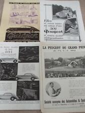 ORIGINAL ADVERT's MOTOR CARS PEUGEOT 1934/35 + GRAND PRIX 1912 Georges Boillot