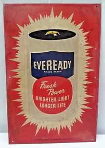 Vintage Eveready Battery Advertise Tin Sign Graphics Depicting Battery Colle# 4