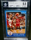 BGS 5.5 EX+ 1985 Star MICHAEL JORDAN Rookie Basketball Card #288 Rookie Of Year