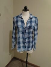 Anthropologie Cloth & Stone blue plaid buttondown shirt top sz M bleached