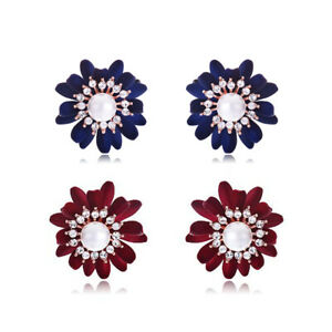 Lovely Flower Stud Earrings Rose Gold plated Cubic Zirconia Pearl Casual Party