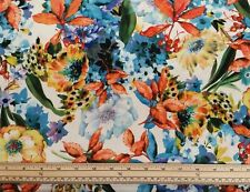 Scuba Fabric - White Floral - 95% Polyester, 5% Elastane - Half Metre