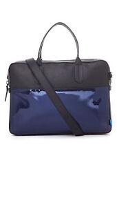 URI MINKOFF Blue Chrome Fulton Brief Case Bag $345 NEW
