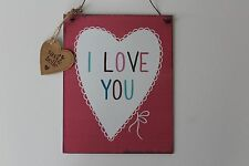 Shabby Chic I Love You Metal Sign Plaque Hanging Picture Distressed look edges
