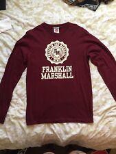 Men's Burgundy Franklin & Marshall Long Sleeve T Shirt Size S