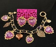 Betsey Johnson cuty pink Leopard xox crystal earrings drop + bracelet