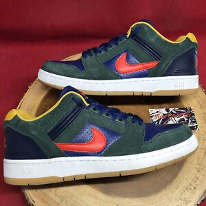 Nike SB Air Force II Low AF2 Size 12 Greedy Rugby Midnight Green Blue Habanero