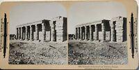 Egitto Tempio Da Sethos Tebe Fotografia Stereo Vintage Citrato