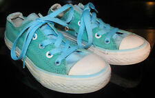Converse All Star Junior Size 12 Sky Blue & Aqua Green Double Tongue Sneakers