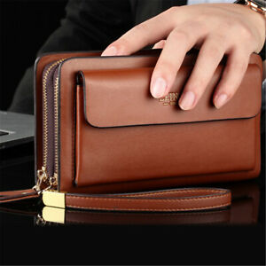 Men Leather Zipper Wallet Phone Business Bag Card Holder Clutch Handbag  T K