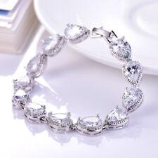 18K White Gold Filled Teardrop Swarovski Crystal Lady Quality Chain Bracelets