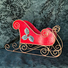 """Santa's Sleigh Metal in Red and Gold with Holly Decor 12"""""""