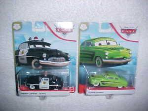 "HW DISNEY PIXAR CARS ""SHERIFF & EDWIN KRANKS"" VHTF NEW MATTEL DIE CAST CARS"