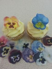 12 PRECUT Edible Pansies wafer/rice paper cake/cupcake toppers