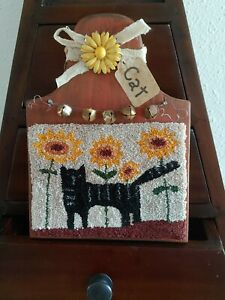 """Primitive needle punch """"Cat"""" Sunflower on hornbook farmhouse tiered tray tuck"""
