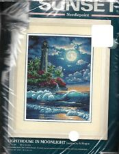 "Dimensions LIGHTHOUSE IN MOONLIGHT Needlepoint Kit Al Hogue 16x20"" New Open Pkg"