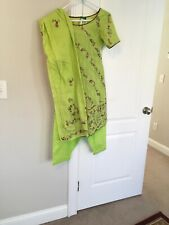 3 Pc(New Salwar And Scarf,only 1 Time Worn Kameez Party Dress Size M Girl Cotton