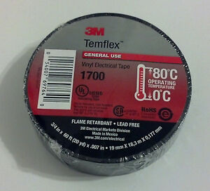 "PREMIUM 1700 3M TEMFLEX BLACK VINYL ELECTRICAL TAPE 3/4"" X 60' FLAME RETARDANT"