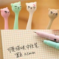 5X Cute Cat Random Kawaii Fun pens black Gel ink Roller Ball Point Pen Set Fad..