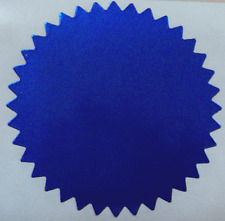 Shiny Blue Foil Notary & Certificate Seals, 2 Inch Burst, Roll of 500 Seals