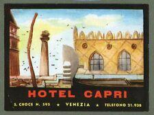 RARE Hotel luggage label ITALY Capri Venezia RARE pretty art & colour  #725