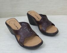 Thom McAn  Women's Sandals SZ  5  Lifetime Comfort Brown Leather Slides Wedge