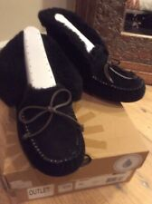 UGG Australia Alena Black  Suede Mocassin Slippers Boots Womens Size 6