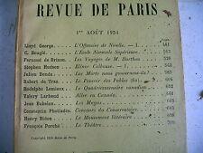 LA REVUE DE PARIS n° 15 - 1934 revue littéraire HUDSON BENDA LEMIEUX etc