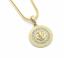 "Mens Medallion Patern Lion Gold Plated 24"" Franco Chain Pendant Necklace"