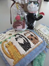 BIRTHDAY TEAPOT  CAT WITH ROSE ,HOT MITT AND POT HOLDER AND CAKE DISH CLOTHS