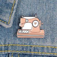 Cute Enamel Sewing Machine Lapel Collar Pin Corsage Brooch Women Jewelry Gift W/