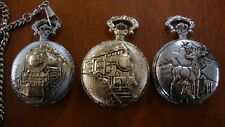 All Running Train and Deer Design Quartz Pocket Watch Modern Set Of Three