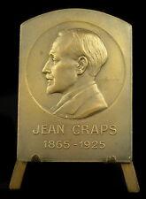 Medaille belge à Jean Craps 1865 - 1925  Belgique Belgium  65mm Ch Samuel medal