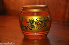 Genuine Russian Golden Khokhloma Wooden Pot Jar Lided (0489)