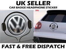Black VW Volkswagen Badge Logo Headphone Sticker Decal Vinyl  Badge Surround