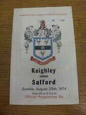 25/08/1974 programma Rugby League: keighley V Salford (piegato). condizione: abbiamo un