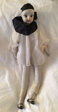 Porcelain Doll Pierrot Clown. Tear Painted On Face.  Lady China Doll Original Wh