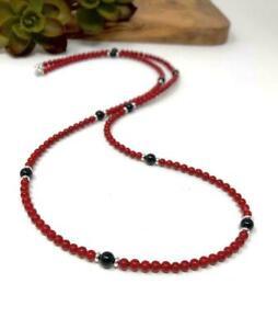 Lungo Rosso e Nero Strati Collana Corallo rosso Spinello Perle Perline