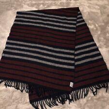 Faribault Woolen Mill Company Throw Blanket Wool Stripe Fringe Rectangle Shape