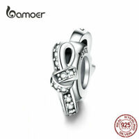 BAMOER Women European CZ Charm S925 Sterling Silver Knot Fit Bracelet Jewelry
