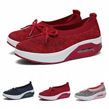 Womens Bowknot Breathable Platform Sneakers Walking Athletic Slip-On Shoes 42 L