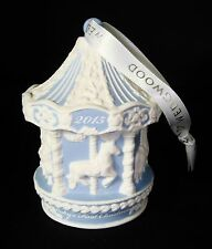 Wedgwood Blue Carousel Baby's 1st 2015 Christmas Ornament Jasperware $58