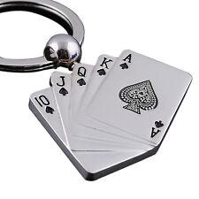 Creative Silver Metal Key Chain Ring Poker Keychain Playing Cards Keyfob Ke LAD