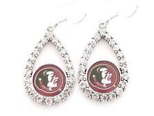 Florida State Seminoles Teardrop Clear Crystal Silver Earrings Jewelry FSU
